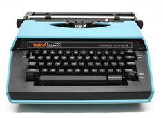 Vintage 1982 Brother Cassette Blue Portable Electric Typewriter.
