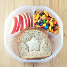 Back To School Lunchbox: Inside-Out Sandwiches with Apple Slices and Trail Mix
