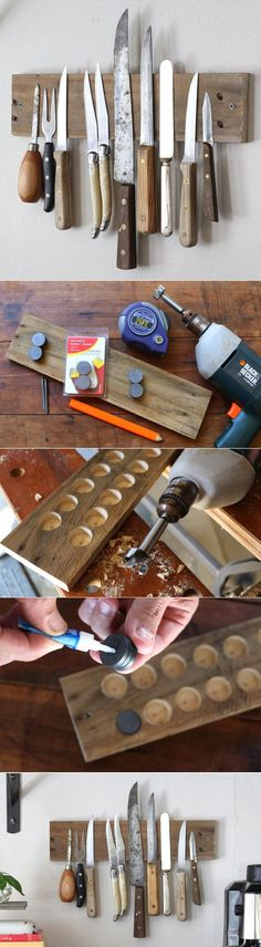 Your Own Rustic Wall Rack to Display Knives Tutorial So cool! A DIY magnetic wall display in your kitchen of your favorite knives. Functional too!So cool! A DIY magnetic wall display in your kitchen of your favorite knives. Functional too! Magnetic Wall, Magnetic Knife Holder, Magnetic Knife Strip, Support Mural, Ideias Diy, Wall Racks, Diy Holz, Diy Kitchen, Kitchen Walls