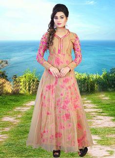 Sundram Fab Cream & Pink Color Net & Bhagalpuri Printed Work Gown #gown #weddinggown #designergown #partyweargown #princessgown #formalgown #ceremonial gown #festivalgown #receptiongown #dressup #weddingdress #womangown#fashiongown
