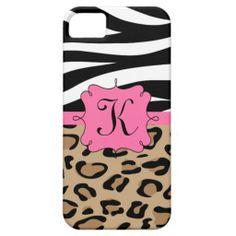 Zebra and Leopard Print Personalized Monogram iPhone 5 Case