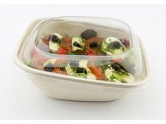 750ml Pulp Square and Slope Bowls.  Dimensions: 7.1x7.2 inches Height: 2.3 inches Case Quantity: 300  Soak-proof pulp containers lined with a BPI certified compostable laminate for longer, stronger food storage. Made from bagasse, a by-product of sugarcane processing.