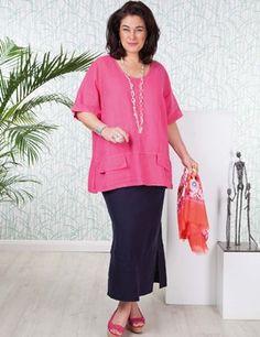 Box2 Fashion | Troon Fuchsia Linen Top and Navy Linen Skirt