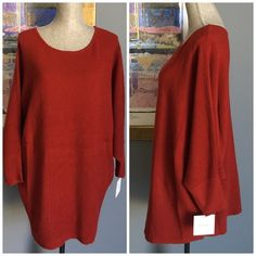 ✨SALE✨Ellen Tracy Dolman Sleeved Sweater Beautiful comfy lighter weight sweater from Ellen Tracy .  Features dolman sleeves .  Made of 100% acrylic .  Machine washable . Color is called dark amber and is accurately shown in pic #2 . Ellen Tracy Sweaters Crew & Scoop Necks