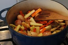 Vegetables for rabbit stew with sage dumplings.