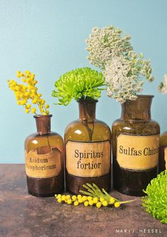 Vintage apothecary/pharmacists jars with their beautiful amber brown glass upcycled into vases