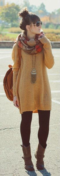 Sweaters, Leggings, Leather boots my goal is to find a sweater dress I don't look frumpy in
