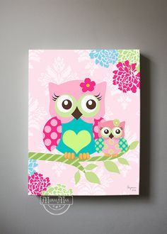 Floral Owl Nursery wall art - OWL canvas art, Pink Floral Baby Nursery , Owl…