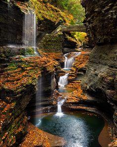 Watkins Glen Rainbow Falls In Autumn
