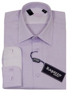 Boy's Dress Shirt 23234 Lavender #boyssuits #boyssuitsdotcom #heritagehouse #goodvibes #ragazzo #dressshirt #weave #tonal #contrastcuffs #lavender #lilac #purple #lightpurple