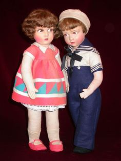 Raynal felt and cloth dolls from the 20s and 30s (Odin collection - Musée de la Poupée-Paris).