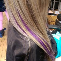Why not add a pop of color? We peekaboo purple lowlights by Megan Cut And Color, Color Pop, Hair Colour, Pretty Hairstyles, Straight Hairstyles, Dye My Hair, Love Hair, Beauty Hacks, Stylists