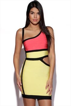 Just had to pin this Cut Out Side Colour Block Bandage Dress from www.vestryonline.com/