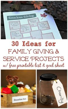 30 Ideas for Family Giving and Service Projects plus a printable planning and goal-setting guide. This is such a great way idea to help get kids involved in a service project.