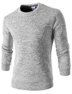 ce72e25c1 (WIST25-LIGHTGRAY) Mens Slim Fit Round Neck Napping Long Sleeve Color  Knitted Tshirts