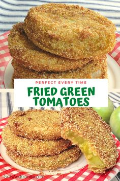 The secret to Perfect-Every-Time Fried Green Tomatoes revealed! Crispy, crunchy cornmeal coating on the outside. Tangy, tender-but-not-mushy on the inside. I'll tell you my secret to keeping the crunchy coating on even the sides of green tomatoes! Green Tomato Recipes, Vegetable Recipes, Vegetarian Recipes, Cooking Recipes, Baked Plantain Chips, Vegetable Dishes, Fried Green Tomatoes Recipe Cornmeal, Baked Green Tomatoes, Fried Tomatoes