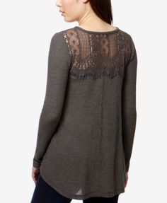 Lucky Brand Lace-Trim Thermal Top - Tan/Beige XS