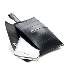 Recycled Tire Cell Phone Case: This would make a great gift for the clumsy boyfriend who always drops his phone! Friends-International works with parents of former street children and other high-risk youth to create bags and jewelry using recycled newspapers, comics, magazines, sarong fabric, and rice bags. #FairTuesday