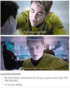Point of interest: Pavel Chekov from the original Star Trek show wore a red shirt and DIDN'T DIE! Percy Jackson, We Are Bears, Starship Enterprise, Fandoms, Lol, Live Long, Superwholock, Hunger Games, Rurouni Kenshin