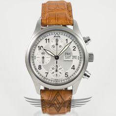 #IWC #Spitfire 39mm Day-Date Chronograph Steel Case Silver Dial Brown Alligator Strap Automatic Watch IW3706-23 #OCWatchCompany #WatchStore #WalnutCreek