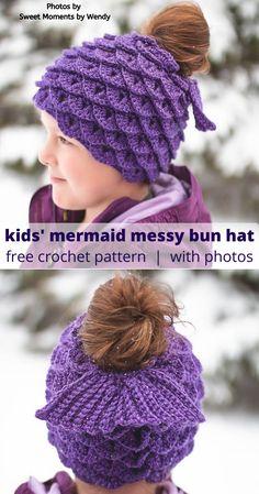 Mermaid Messy Bun Hat for Kids - Crochet Pattern. Messy Bun Hat for Kids – Crochet Pattern. stirnband Mermaid… Mermaid Messy Bun Hat for Kids – Crochet Pattern. stirnband Mermaid Messy Bun Hat for Kids – Crochet Pattern – Crafty Kitty Crochet - Crochet Pony, Crochet For Kids, Easy Crochet, Free Crochet, Childrens Crochet Hats, Crochet Beanie Pattern, Crochet Patterns, Crochet Mermaid Pattern, Hat Patterns