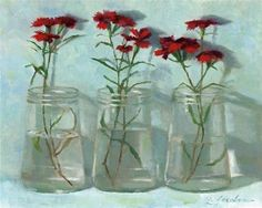 """Daily Paintworks - """"Red Dianthus"""" - Original Fine Art for Sale - © Linda Jacobus Olive Jar, Still Life Fruit, Quirky Art, Happy Paintings, Fine Art Auctions, Painting Still Life, Fine Art Gallery, Nature Pictures, Art For Sale"""