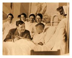 Reading Time With Babe Ruth.  (Shriners Hospital c.1930's)