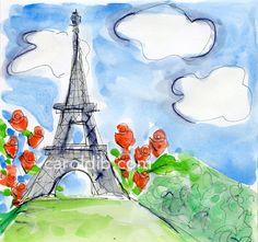 Paris, Eiffel Tower watercolor.