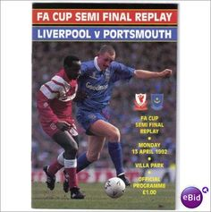 Liverpool v Portsmouth 13/04/1992 FA Cup S/Final Replay Football Programme Sale