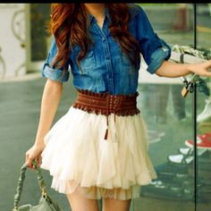 Jean shirt and cute skirt- country inspired!