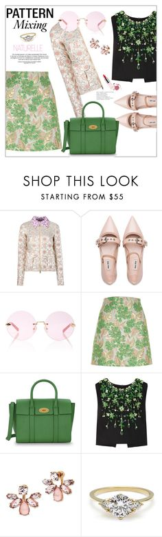 """""""Pattern Mixing"""" by frenchfriesblackmg ❤ liked on Polyvore featuring Rochas, Miu Miu, Karen Walker, River Island, Mulberry, Marchesa and Guerlain"""