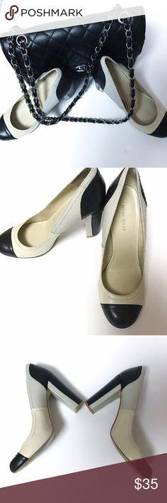 "Nine West ""Make Peace"" Multicolor Pump Adorable cream, gray and black leather block heel pump. Super comfy.  Wrapped heel 3.5"" Nine West Shoes Heels"