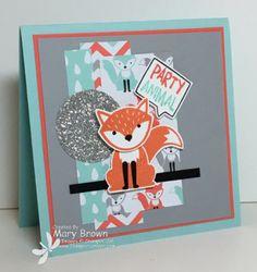 """stampercamper.com - For the Create with Connie and Mary Design Team Saturday Blog Hop we each picked our favorite new dsp.  I just LOVE the """"A Little Foxy"""" paper...love the colors and the cool designs.  To start the hop, and for all the details, visit my blog.  Sets:  Foxy Friends, Balloon Builders"""