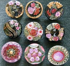 Collection of 9 Czech ANTIQUE (1920's) Glass Buttons #A864 - RARE !!!!!!!!!!!!! - I love buttons they make great clasp for beading and knotting clasp.