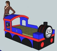 build a train bed, I think I could make some adaptations and we could make this into a playhouse for Tristan ;)