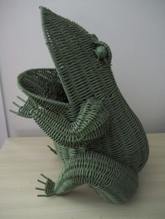 vintage large green wicker rattan  frog by hermina's cottage by @HerminasCottage | classic as a wicker chair.