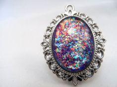 Multicoloured Flake Glitter Nail Polish Necklace - 'Scintillating Scotoma' Handmade Sparkly Flake Silver-plated Nail Varnish Pendant Jewelry
