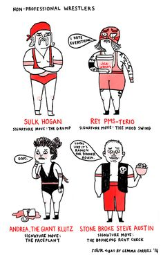 """Non-professional wrestlers,"" a Four Eyes comic by Gemma Correll"
