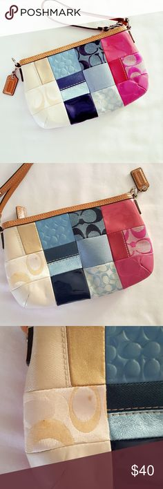 "Coach || Wristlet Blue.Pink. Beige. Brown. Silver harware. EUC. One marking shown in photo 3. Clean inside. Measurements: Approx. 9"" (l) X 5.25 (W)"".  Opening is almost 8"". I can fit my samsung 6+ edge in it for reference. Coach Bags Clutches & Wristlets"