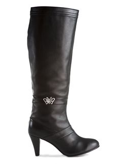 Decadent black leather butterfly boot with hidden pockets for cell phones and credit cards. Dance, travel and shop purse free! Click to view - www.elizabethanneshoes.com $189.99