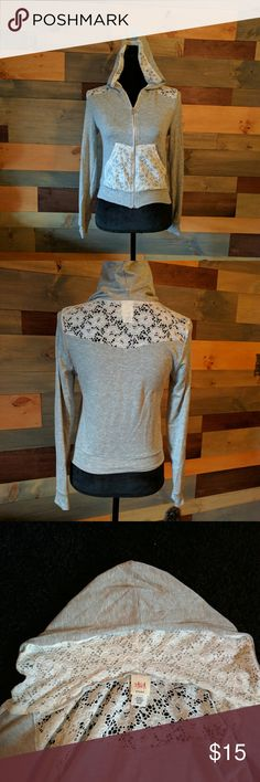 Beautiful light weight lace sweatshirt. New no tag Lovely, girly and light. Perfect for layering in winter or for a summer night. Runs a bit small. Tops