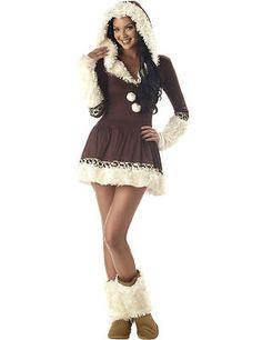 Sexy Eskimo Frau Eiszeit Kostüm Karneval Fasching Verkleidung Damen