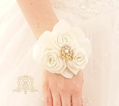 Ivory or white bridesmaids flower wrist corsage for wedding