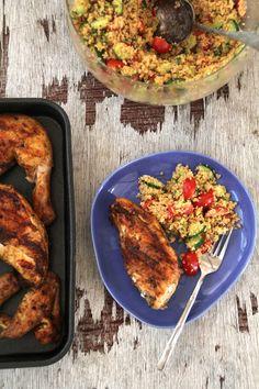Kylling- og couscoussalat.    Veldig enkelt hvis du bruker salatkylling. Bare ha den direkte oppi salaten.