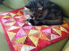 Sparky the Cat on Broken Dishes Pattern Cat Mat Batiks Dog Quilts, Cat Quilt, Baby Quilts, Miss My Dog, History Of Quilting, Cat Mat, Pinwheel Quilt, Animal Projects, Quilting Designs