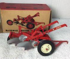 Vtg MCCORMICK 2 BOTTOM PLOW Tractor Toy FARMALL International Harvester ESKA Box #ESKA