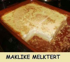 Melktart EASY MILK TART (English Version) 1. Microwave 1 can of condensed milk 1 can of milk 2 cans of hot water 2 tablespoons butter 4 eggs 6 tablespoons corn-starch ( maizena ) pinch of salt pack of tennis biscuits Method: Mix all the ingredients (except the tennis biscuits ) , beat , and microwave for 7 minutes on high. Remove, beat again and microwave for 5 minutes . Remove, beat again and microwave for 3 minutes . Beat again . Pack tennis biscuits in bottom of a bowl, spread the filling…