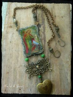 Handmade Resin Pendant Necklace Mixed Media Assemblage Child Memorial by Ferd and Bird