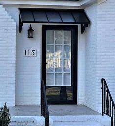 Door Awnings – Design Your Awning Metal Door Awning, Metal Awnings For Windows, Front Door Overhang, House Awnings, Front Door Awning, Front Door Canopy, Aluminum Awnings, Porch Awning, Diy Awning