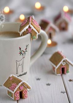 Mini Gingerbread House Cookies....cutest little guys ever! And they sit on your mug too! Love!!!